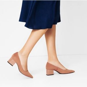Zara Nude Blush Suede Pointed Toe Block Heels